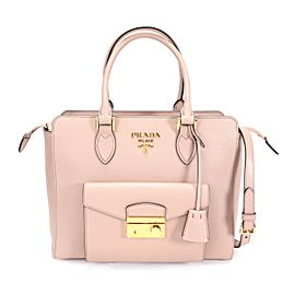 Prada Cipria Saffiano & City Calf Leather Tote