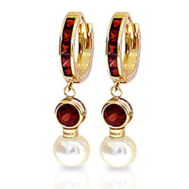 4.3 CTW 14K Solid Gold Huggie Earrings Cultured Pearl Garnet
