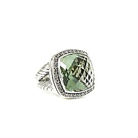 David Yurman Sterling Silver .65Tcw 17mm Moonlight Prasiolite Diamond Ring