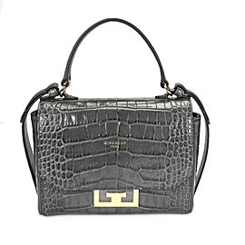 Givenchy Storm Grey Crocodile-Effect Mini Eden Bag