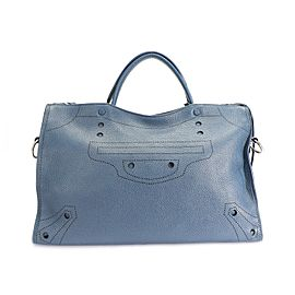 Balenciaga Bleu Tanzanite Calfskin Blackout City Bag
