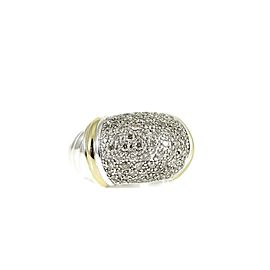 David Yurman Sterling Silver 18K .98Tcw Diamond Metro Dome Ring