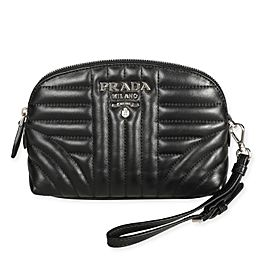 Prada Black Leather Diagramme Wristlet