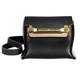 Chloé Black & Sand Leather Mini Clare Bag
