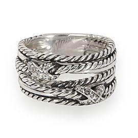 David Yurman Double X Crossover Diamond Ring in Sterling Silver 0.09