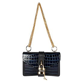 Chloé Full Blue Crocodile-Effect Aby Chain Shoulder Bag