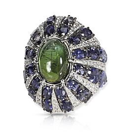 Cabochon Green Tourmaline Lolite & Diamond Ring in 18KT White Gold