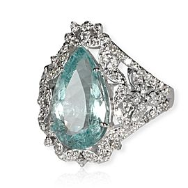Pear Shaped Aquamarine & Diamonds Gemstone Ringin 18KT White Gold 5.57