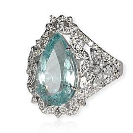 Pear Shaped Aquamarine & Diamonds Gemstone Ringin 18KT White Gold 5.57