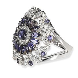 Iolite & Diamonds Gemstone Ring in 18K White Gold 3.40