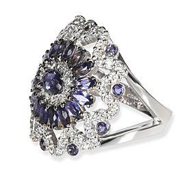Iolite & Diamonds Gemstone Ring in 18K White Gold 3.40