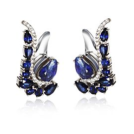 Paisley Shaped Sapphire Diamond Earrings in 18K White Gold 0.41 CTW