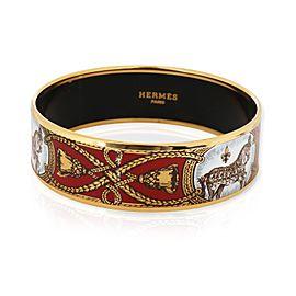 Hermès Grand Apparat Gold-Plated Wide Enamel Bangle