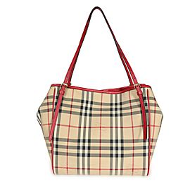 Burberry Honey & Parade Red Horseferry Check Small Canterbury Tote