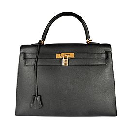 Hermès Black Epsom Sellier Kelly 35 with Gold Hardware