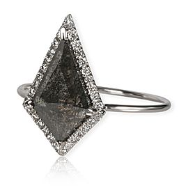 The Night Dagger Natural Black Kite Shaped Diamond Ring in 18K Gold VS2 1.31 ctw