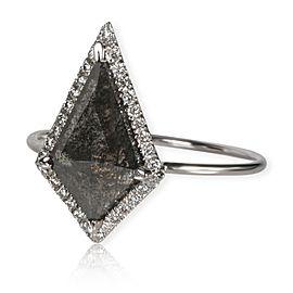 The Night Dagger Natural Black Kite Shaped Diamond Ring in 18K Gold VS2 1.31 ctw