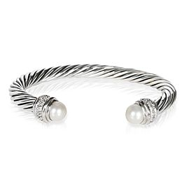 David Yurman Cable Bracelet with Diamonds & Pearls in Sterling Silver 0.41
