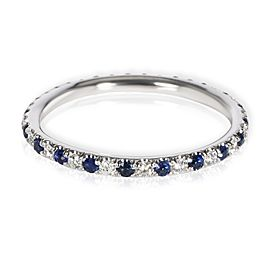 Sapphire & Diamond Eternity Band in 14K White Gold Blue 0.22