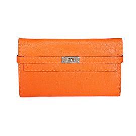 Hermès Orange Chévre Mysore Kelly Wallet with Palladium Hardware