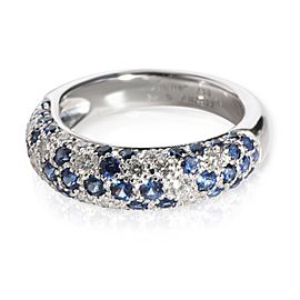 Cartier Mimi Sapphire & Diamond Pave Dome Ring in 18K White Gold