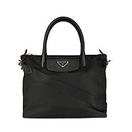 Prada Black Nylon & Saffiano Leather Tote Bag