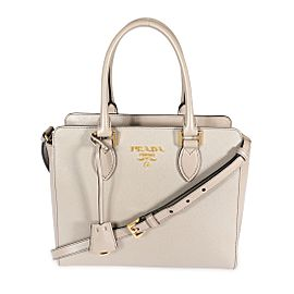 Prada Argilla Saffiano & City Calf Leather Tote