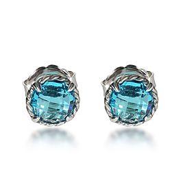 David Yurman Chatelaine Blue Topaz Earrings in Sterling Silver