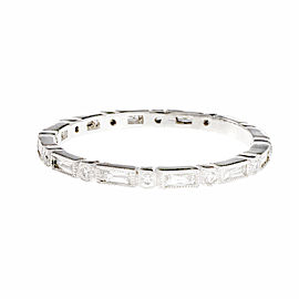 Platinum French Cut Baguette Round Diamond Eternity Band Ring Size 6