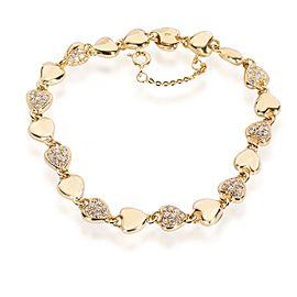 Cartier Vintage Linked Hearts Diamond Bracelet in 18K Yellow Gold 1.00