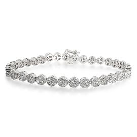 Diamond Flower Cluster Bracelet in 14K White Gold 6.00
