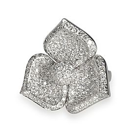 Pave Diamond Flower Ring in 18K White Gold F-G VS 10.00