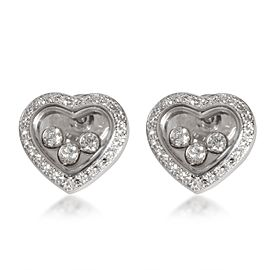Chopard Happy Diamonds Icons Heart Earrings in 18K White Gold 0.70