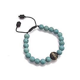 Sterling Silver/18k Yellow Gold Pavé Diamond Ball Pull Bracelet with Magnesite Beads Bracelet