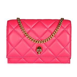 Alexander McQueen Hot Pink Quilted Leather Mini Skull Crossbody Bag