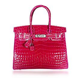 NIB Hermès Rose Pourpre Shiny Niloticus Crocodile Birkin 30 with PHW