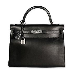 Hermès Black Swift Leather Retourne Kelly 28 with Palladium Hardware