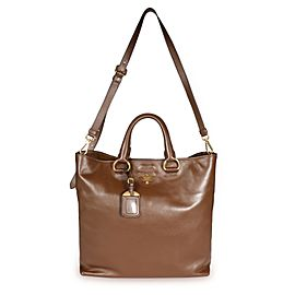 Prada Palissandro Soft Calf Leather Convertible Shopping Tote