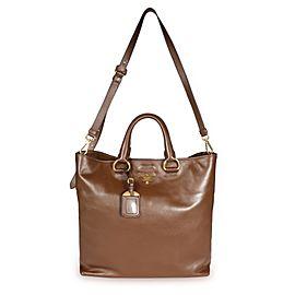 Prada Palissandro Soft Calf Leather Convertible Shopping Tote