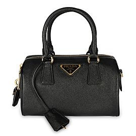 Prada Black Saffiano Lux Leather Top Handle Bag