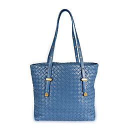 Bottega Veneta Oceano Blue Intrecciato Leather Shopping Tote