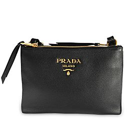 Prada Black Vitello Daino Leather Crossbody Bag