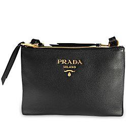 Prada Black Vitello Daino Leather Crossbody Bag