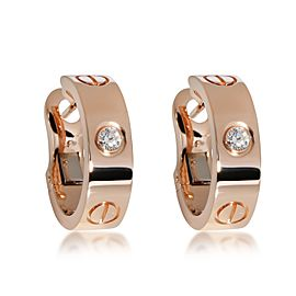 Cartier Love Diamond Hoop Earring in 18K Rose Gold 0.14 CTW