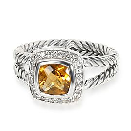 David Yurman Albion Citrine Diamond Ring in Sterling Silver 0.25 CTW