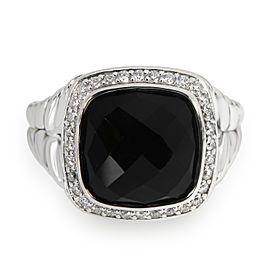 David Yurman Albion Onyx Diamond Ring in Sterling Silver 0.33 CTW