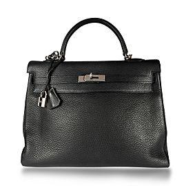 Hermès Black Clémence Retourne Kelly 35 PHW