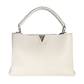 Louis Vuitton White Taurillon Leather Capucines MM