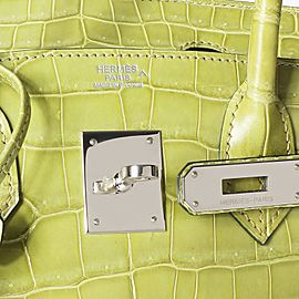 Hermès Shiny Vert Anis Porosus Crocodile Birkin 30 PHW