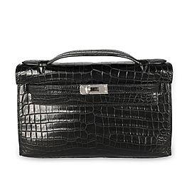 Hermès Shiny Black Niloticus Crocodile Kelly Pochette 18k White Gold & Diamond